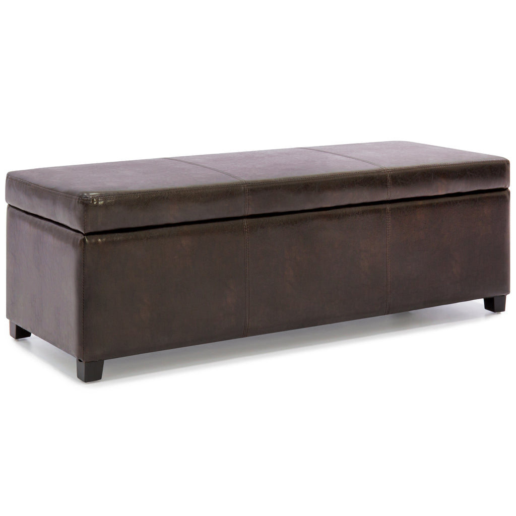 Large Rectangular Leather Storage Ottoman Bench Brown Best Choice Products