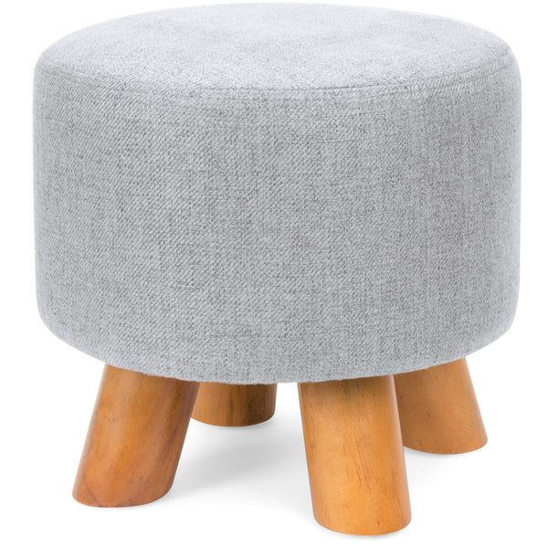 Ottoman Foot Stool Pouf w/ Removable Cover - Light Gray
