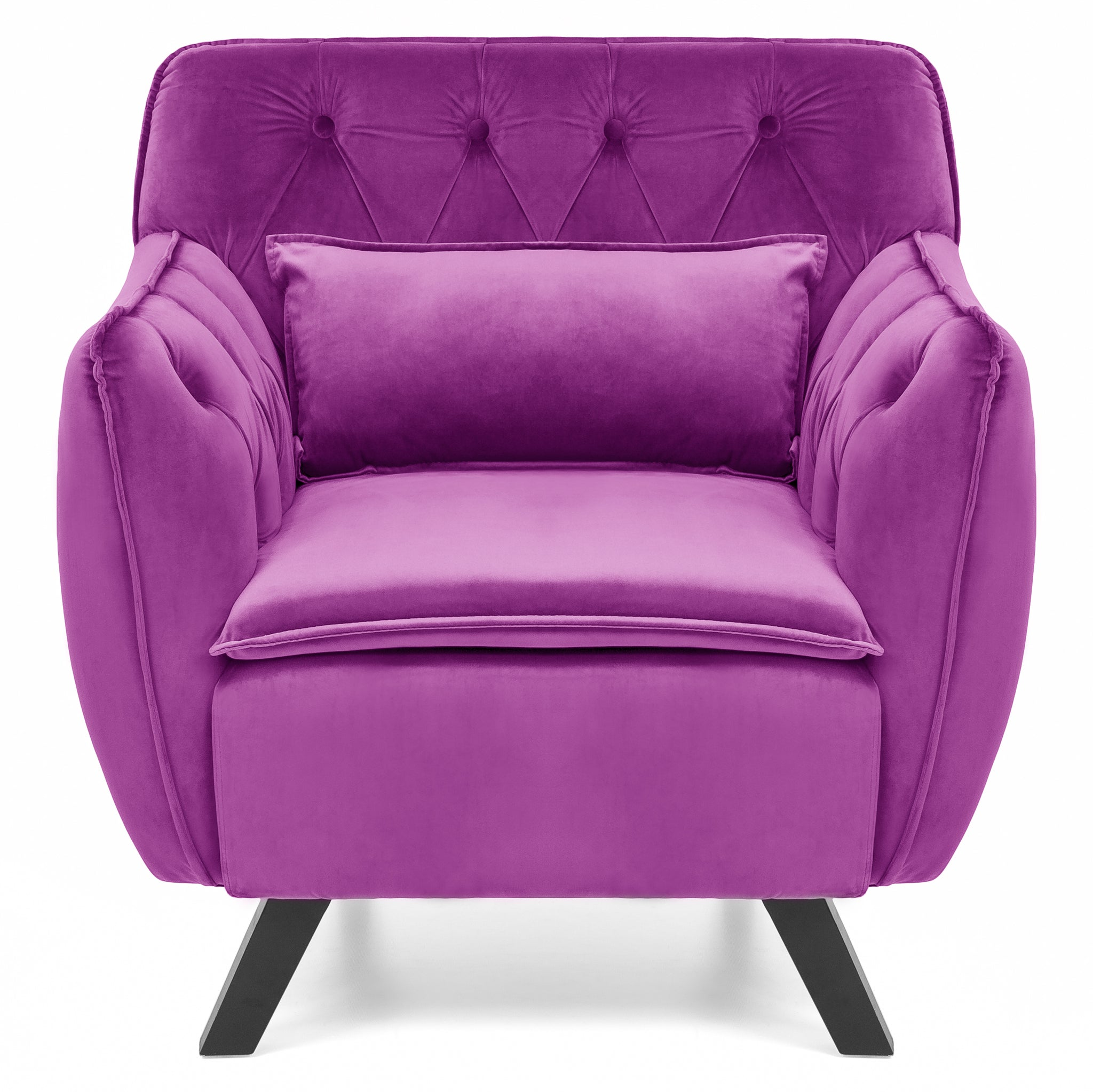 Mid Century Modern Tufted Accent Chair w Lumbar Pillow Purple