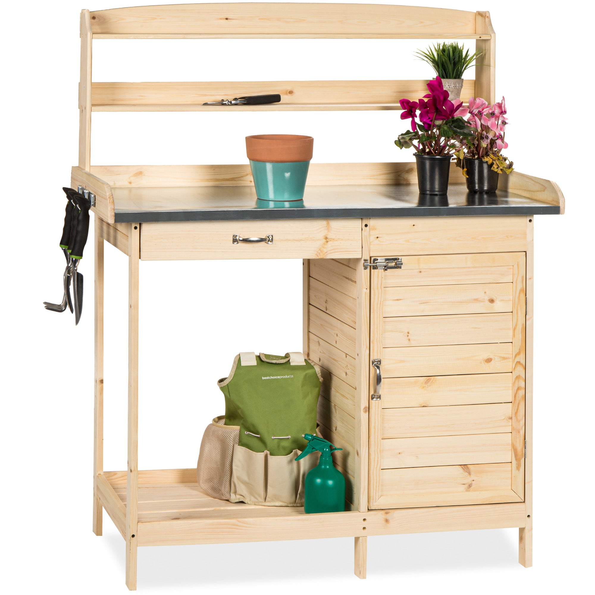 Best Choice Products Outdoor Garden Potting Bench Metal Tabletop W/ Cabinet  Work Station