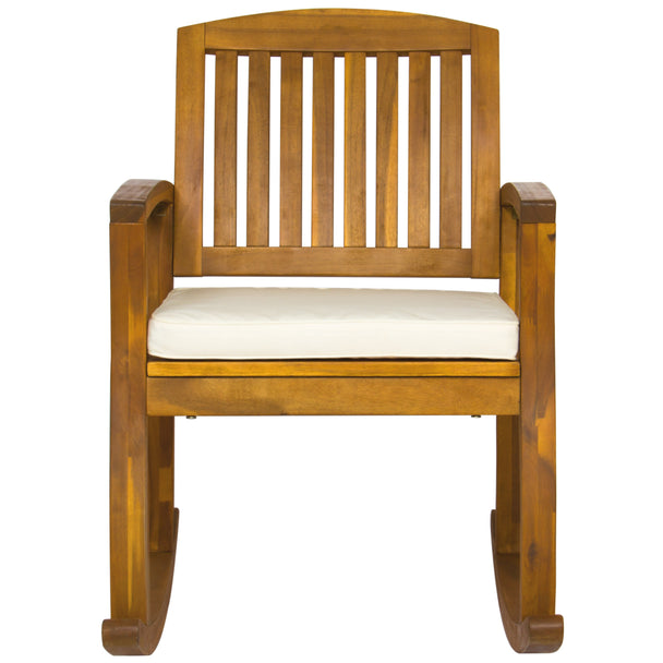 ... Best Choice Products Outdoor Patio Acacia Wood Rocking Chair W/  Removable Seat Cushion ...