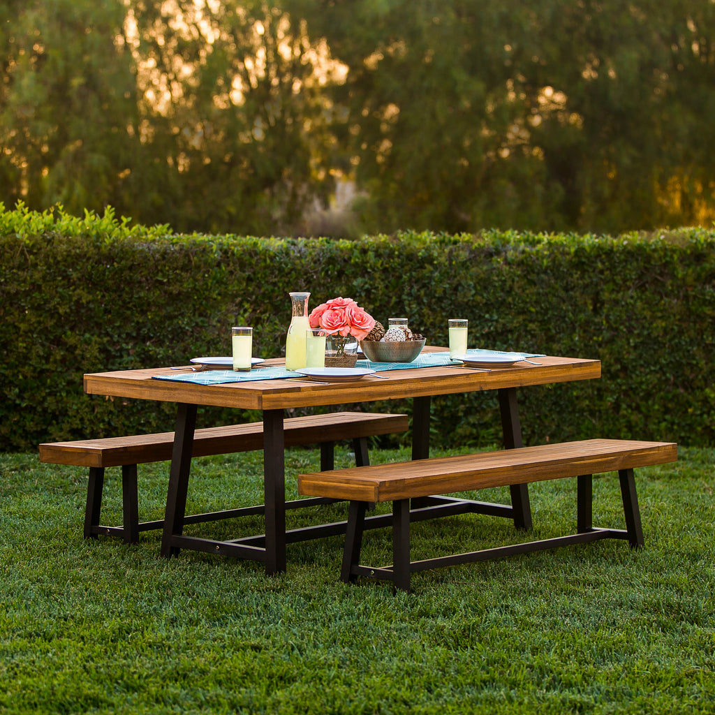 3 piece acacia wood picnic dining table best choice products. Black Bedroom Furniture Sets. Home Design Ideas