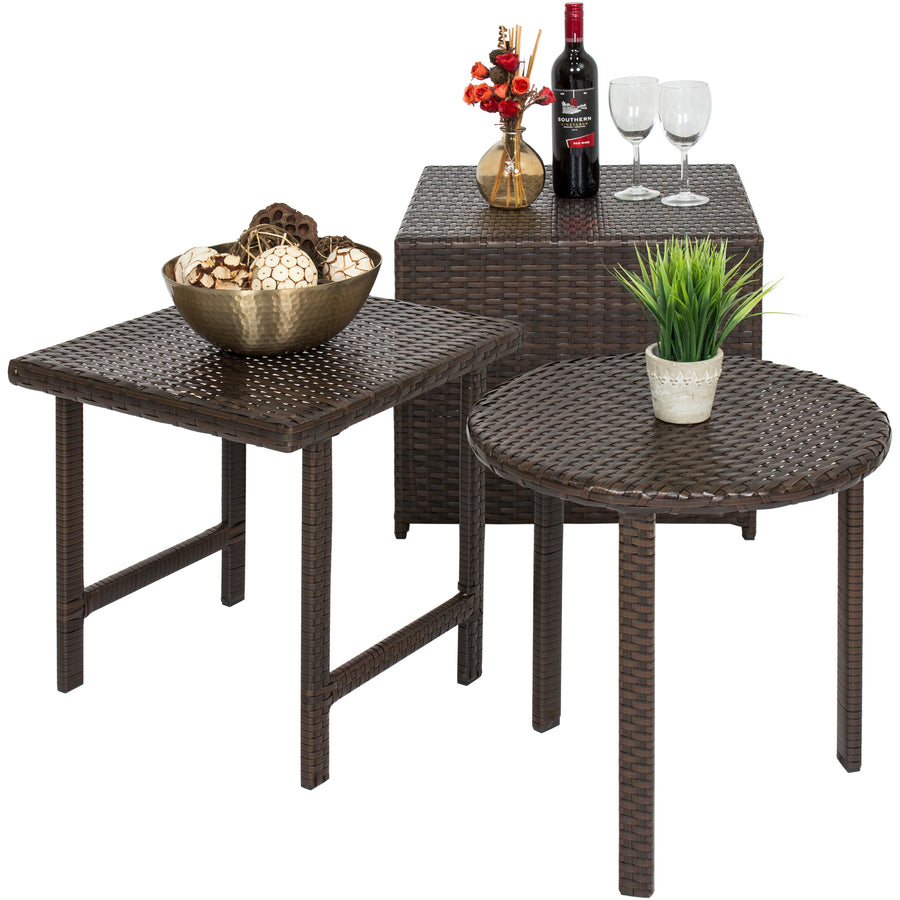 Set Of 3 Wicker Side Tables Brown Best Choice Products