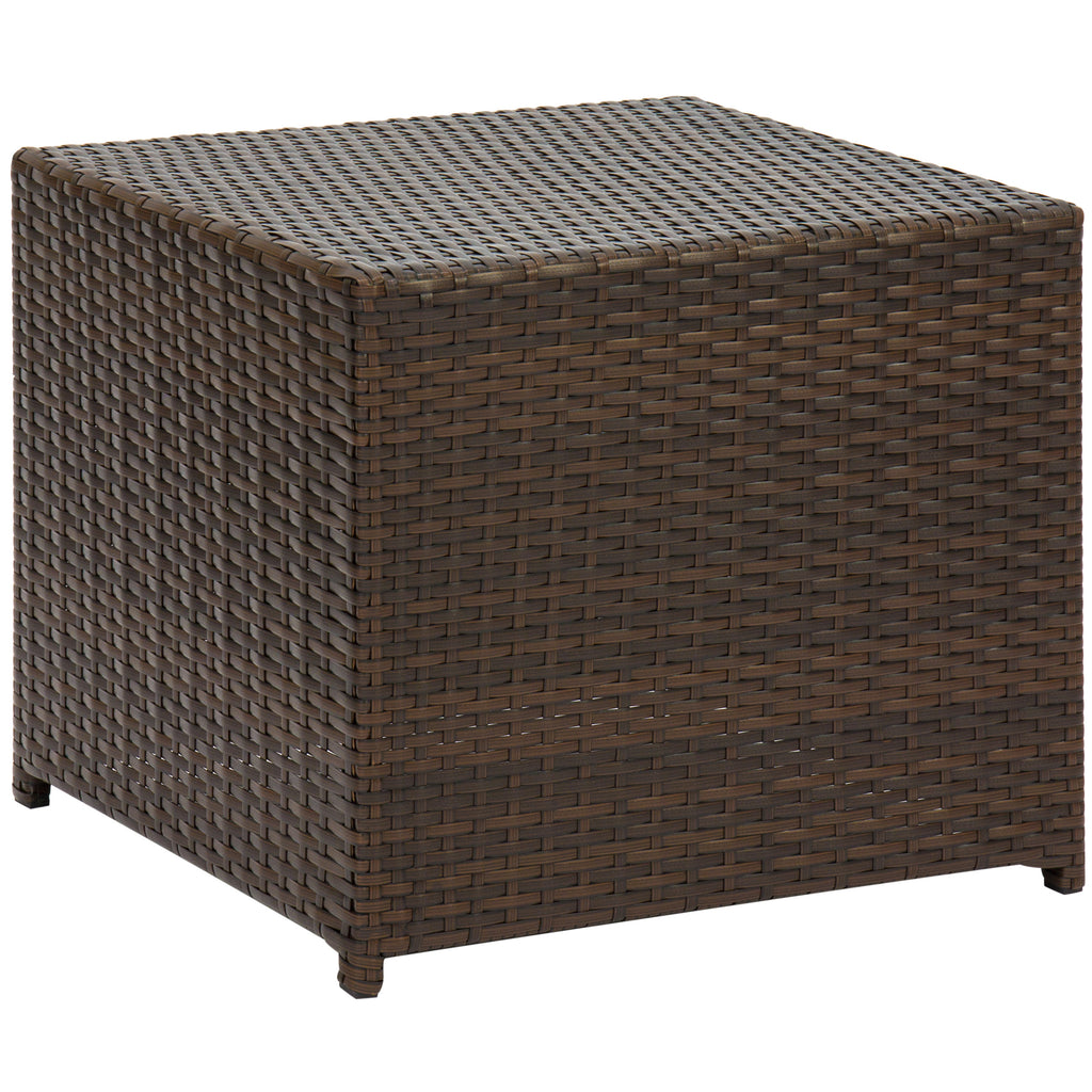 Set of 3 Wicker Side Tables - Brown