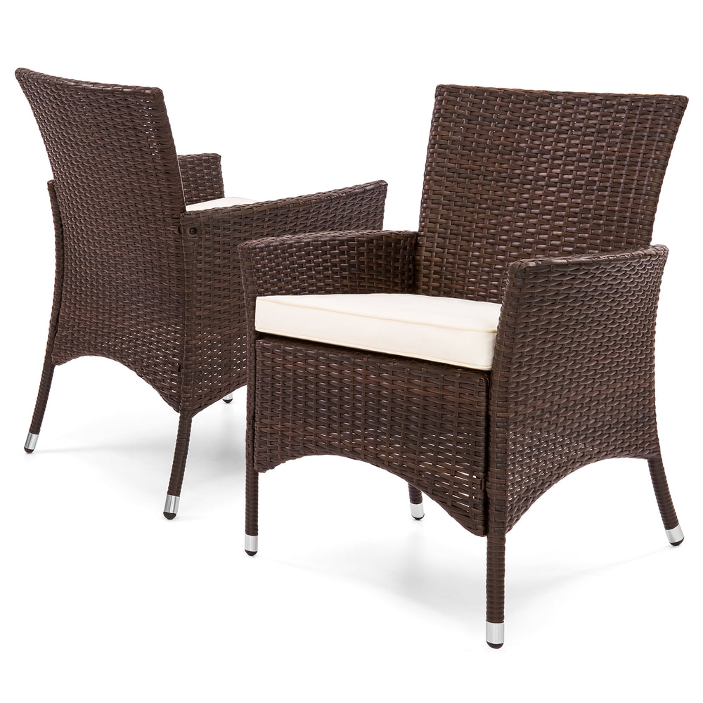 Set of 2 Outdoor Wicker Dining Chairs - Brown