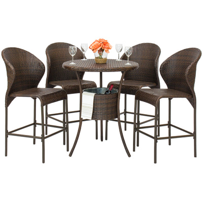 5-Piece Wicker Bar Table With Ice Bucket