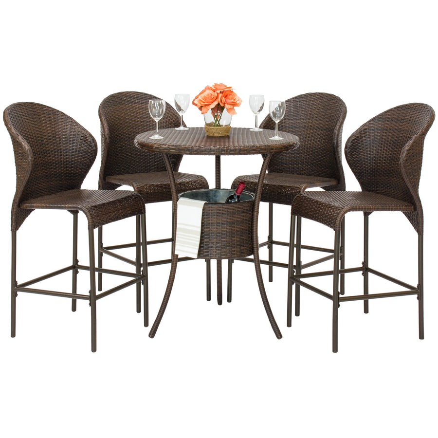 5-Piece Wicker Bar Table w/ Ice Bucket - Brown