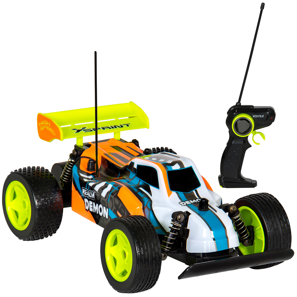Best Choice Products Toy 1:16 27Mhz High Speed RC Buggy Car w/ USB Charger - Orange/Blue