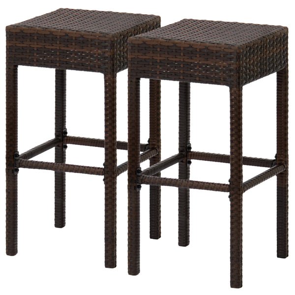 Best Choice Products Outdoor Furniture Set of 2 Wicker Backless Bar Stools - Dual Tone Brown
