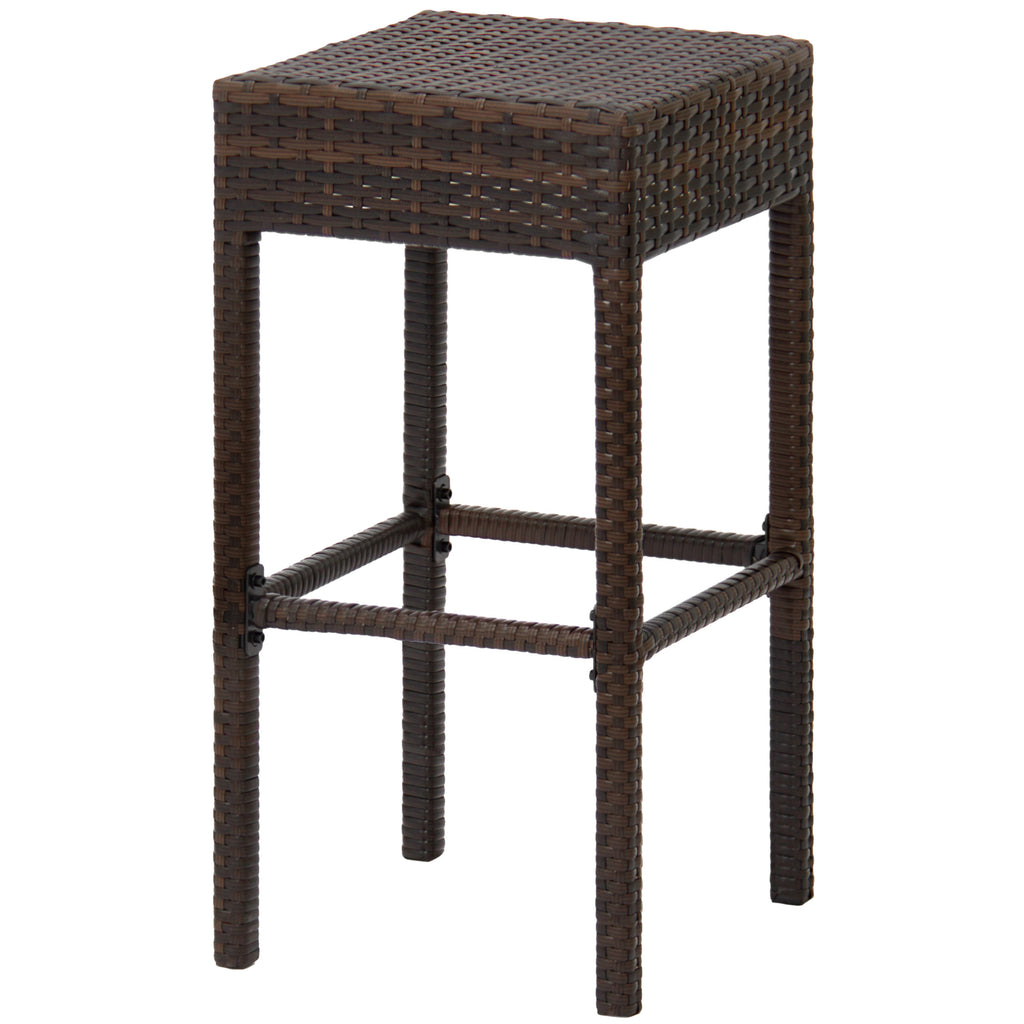 Set of 2 Wicker Backless Counter Height Bar Stools - Brown