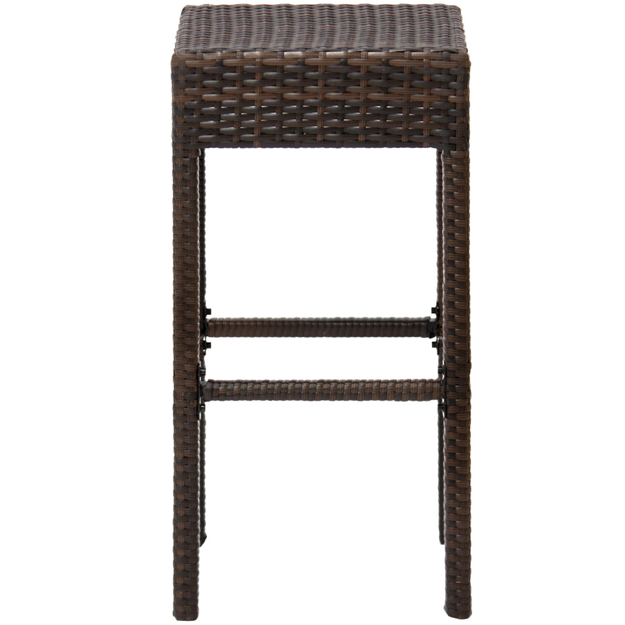 Set Of 2 Wicker Backless Counter Height Bar Stools Brown
