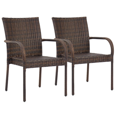 Best Choice Products Patio Outdoor Wicker Set of 2 Stackable Dining Chairs- Brown