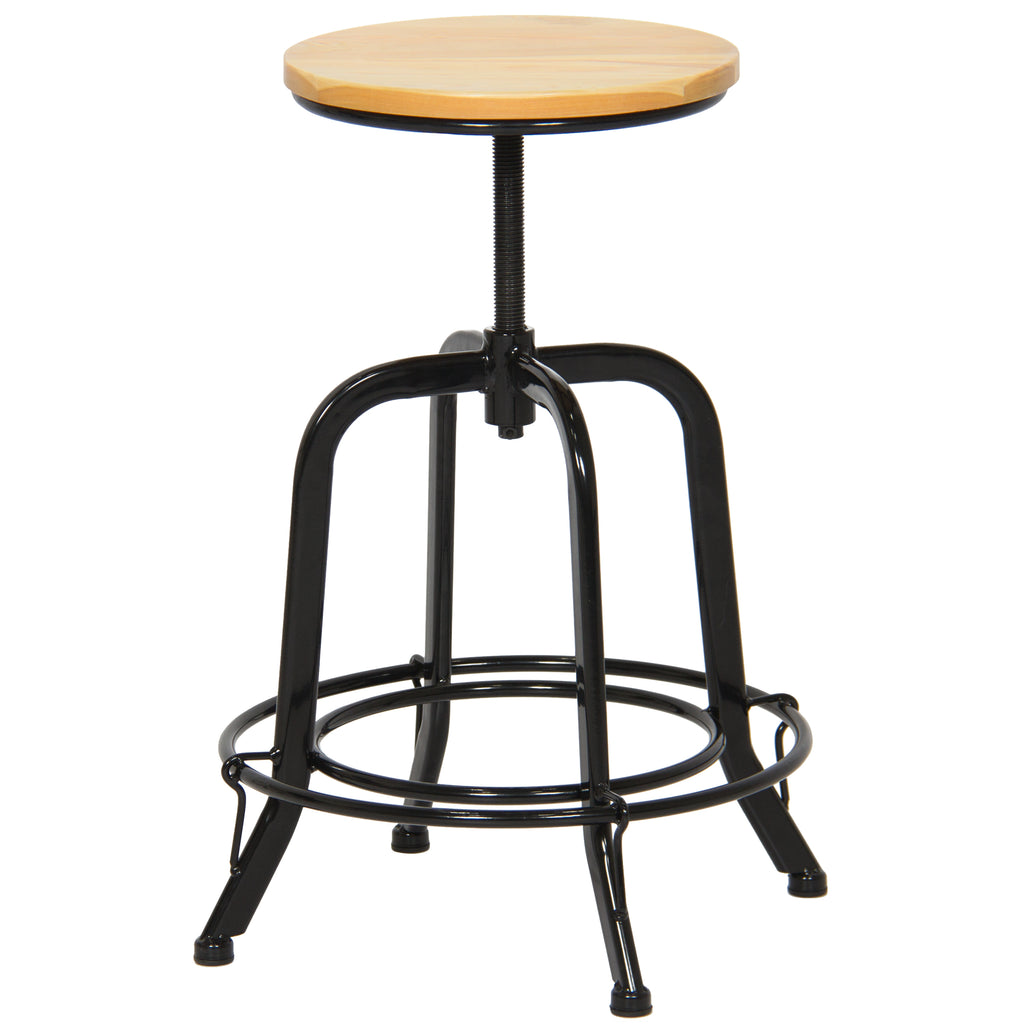 Set of 2 Height Adjustable Swivel Counter Stools - Black/Natural