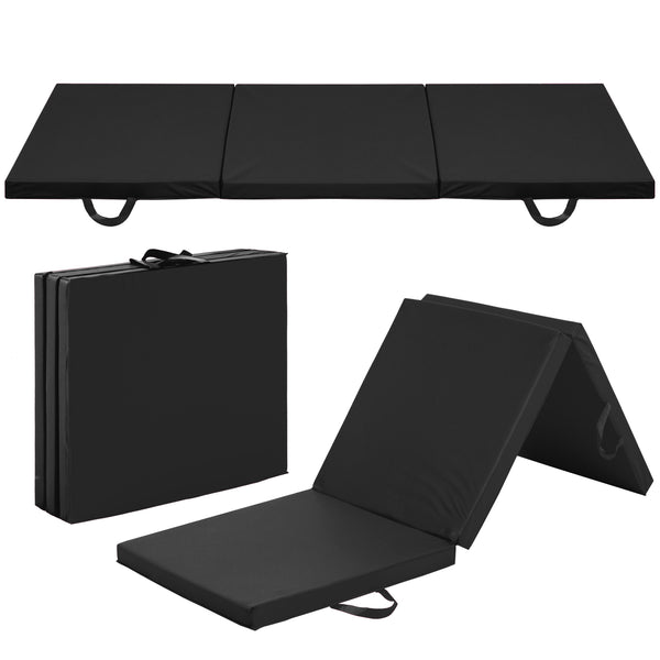 6' Folding Gym Exercise Mats - Black
