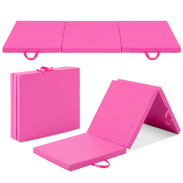 6 FT Folding Gym Exercise Mats - Pink