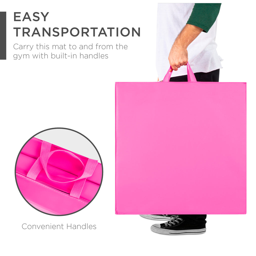Tri-Fold Exercise Fitness Workout Gym Floor Mat w/ Handles