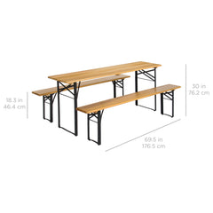 Best Choice Products Portable 3 Piece Folding Picnic Table Set W/ Wooden Tabletop