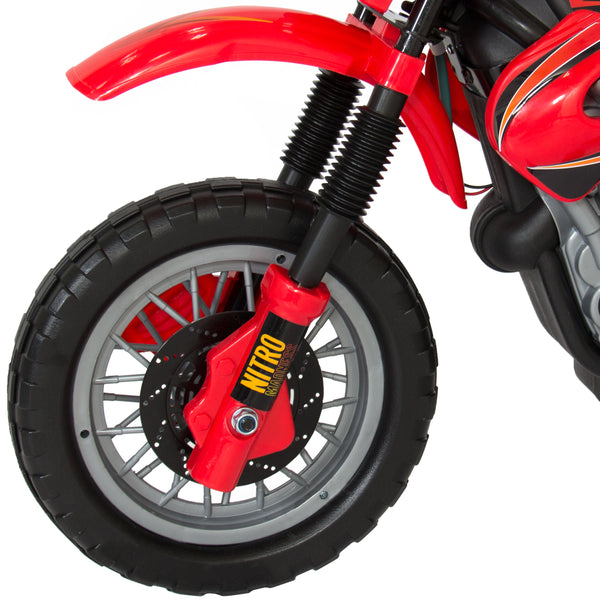 Best Choice Products Kids 6V Electric Ride On Motorcycle Dirt Bike W/ Training Wheels-Red