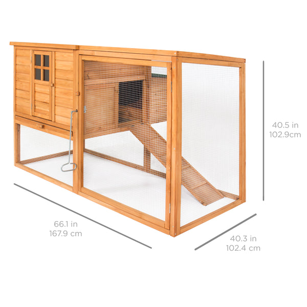 66in Wooden Chicken Coop w/ Nesting Cage - Brown