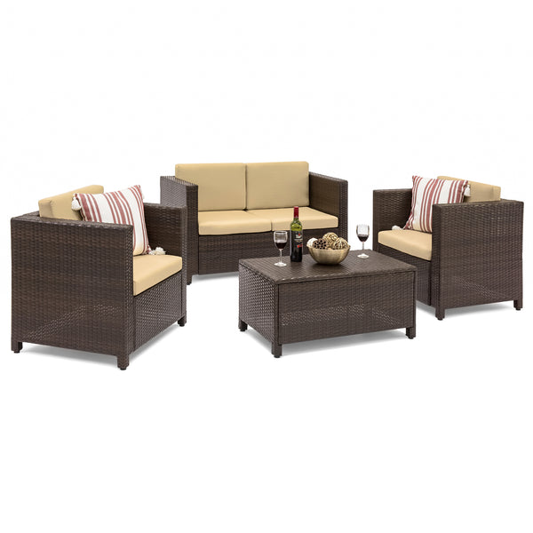 4-Piece Wicker Sofa Set (Brown)