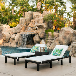 Set Of 2 Wicker Adjustable Chaise Lounges w/ Cushions