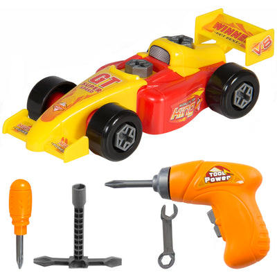 Best Choice Products Kids 23-Piece Assembly Toy Drag Racing Car Set W/ Play Tools- Multicolor