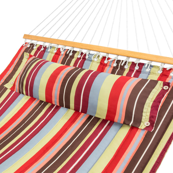 Quilted Double Hammock - Red & Blue Stripe
