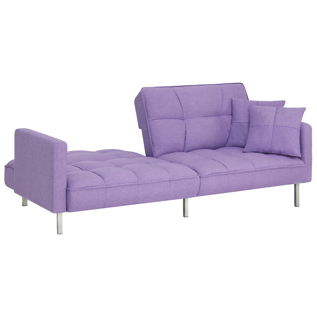 Convertible linen tufted split back futon lavender best choice products - Bank cabriolet linnen ...