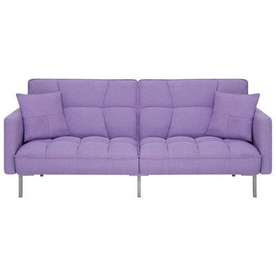Best Choice Products Home Furniture Convertible Linen Tufted Splitback Futon Couch W/ Pillows- Purple