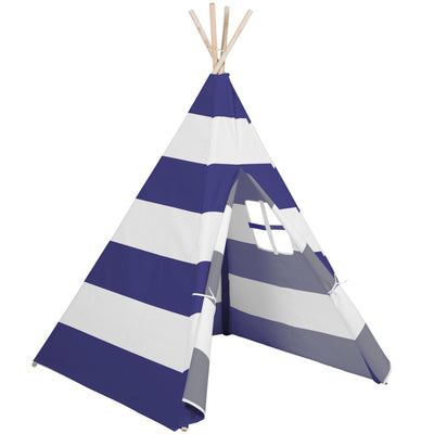 Best Choice Products Indoor/Outdoor 6' Kid's Teepee Tent Playhouse W/ Carrying Case, White W/ Blue Stripes