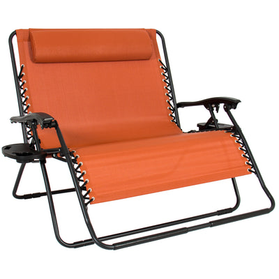 Best Choice Products Folding 2 Person Oversized Zero Gravity Lounge Chair 2 Accessory Trays Outdoor Beach Terracotta