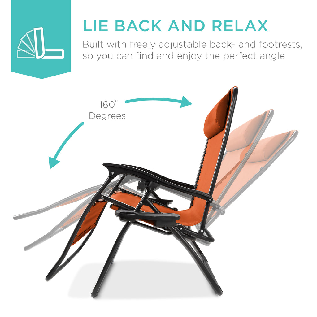 Best Choice Products Folding 2 Person Oversized Zero Gravity Lounge Chair 2  Accessory Trays Outdoor Beach