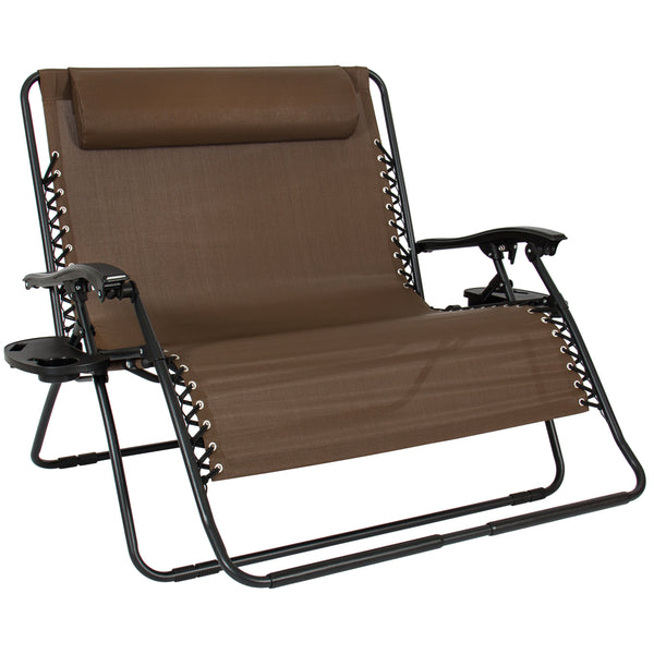 2-Person Double Wide Zero Gravity Chair w/ Cup Holders - Brown