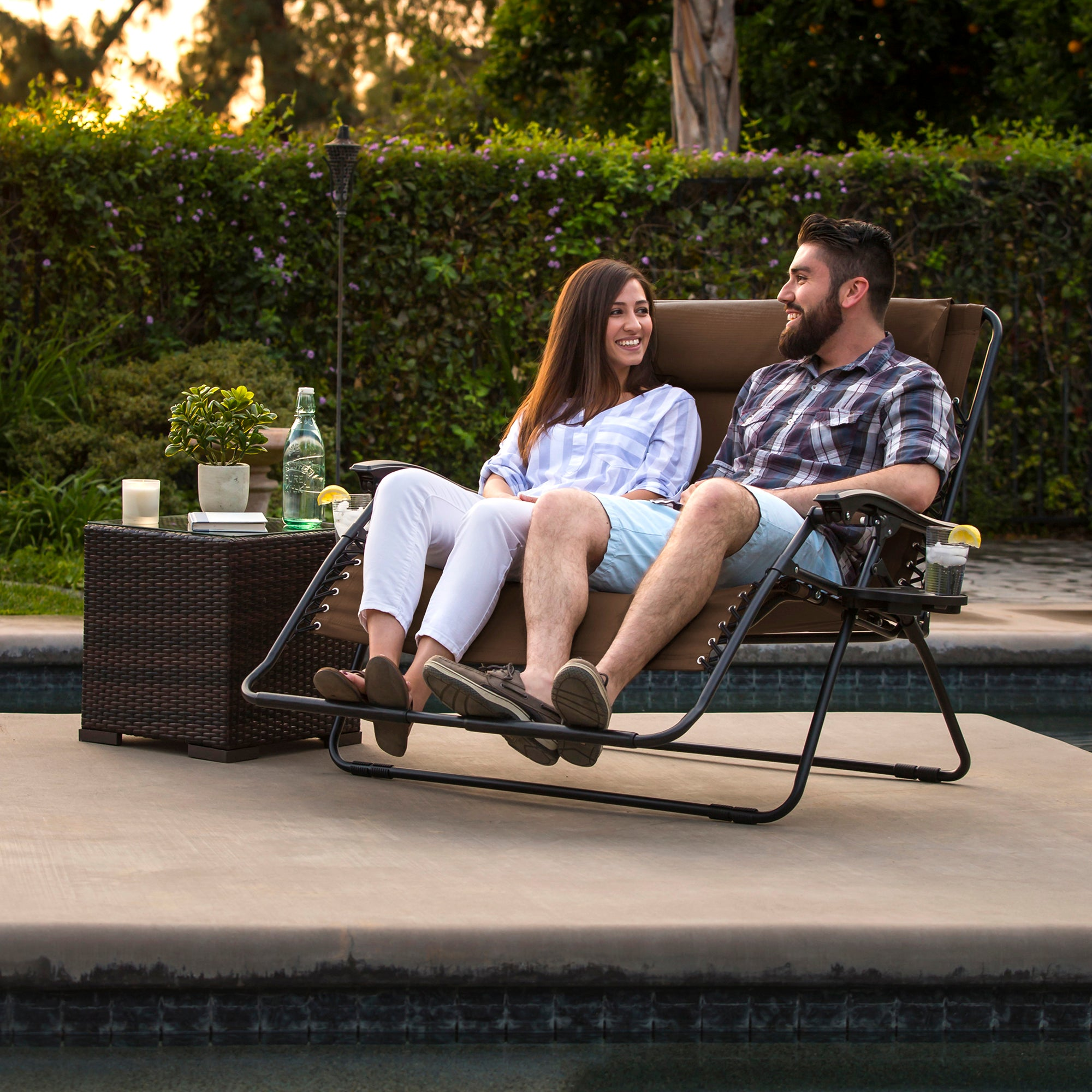 best choice products folding 2 person oversized zero gravity lounge ch