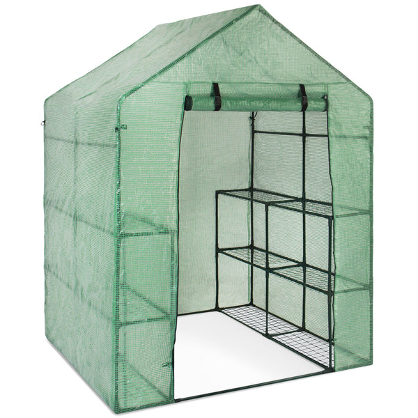 Best Choice Products Outdoor Portable Garden 2-Tier 8 Shelves Mini Walk-In Greenhouse
