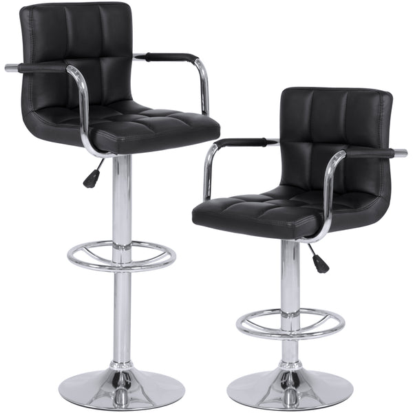 Best Choice Products Set of 2 Swivel Hydraulic Height Adjustable Leather Pub Bar Stools Chair - Black