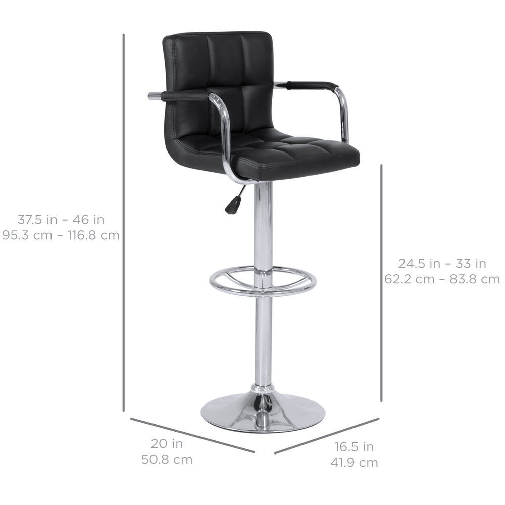 Best Choice Products Set Of 2 Swivel Hydraulic Height Adjustable Leather Pub  Bar Stools Chair