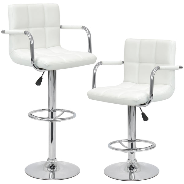 Best Choice Products Set of 2 Swivel Hydraulic Height Adjustable Leather Pub Bar Stools Chair - White