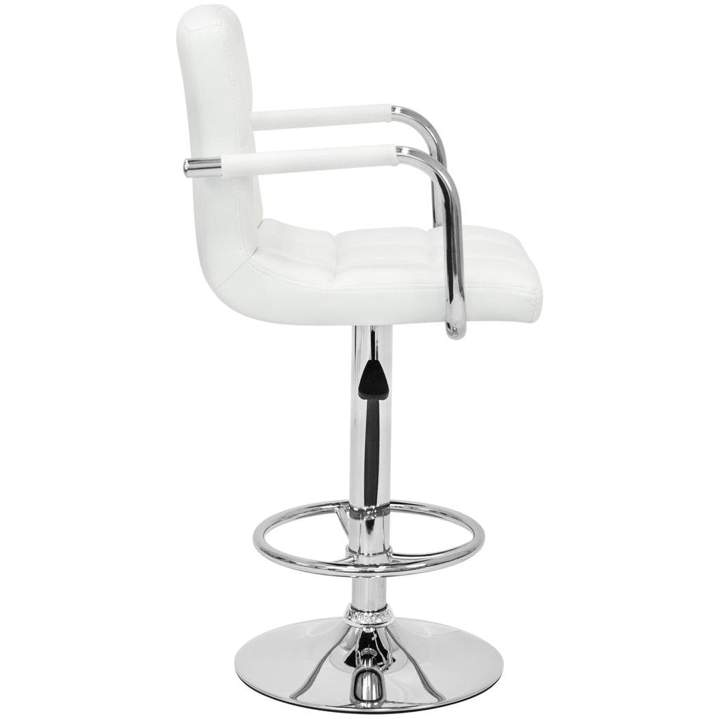Best Choice Products Set of 2 Swivel Hydraulic Height Adjustable Leather Pub Bar Stools Chair- White
