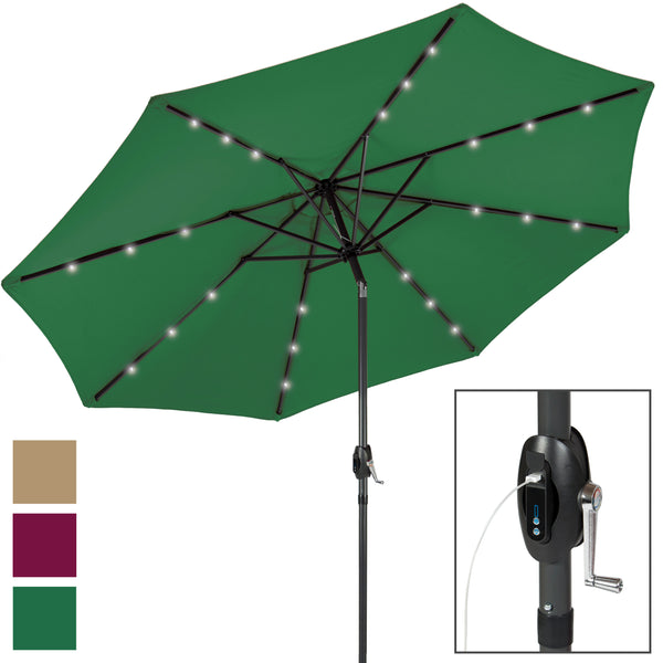led powered solar lighted com red dp patio deluxe umbrella amazon innovations trademark by