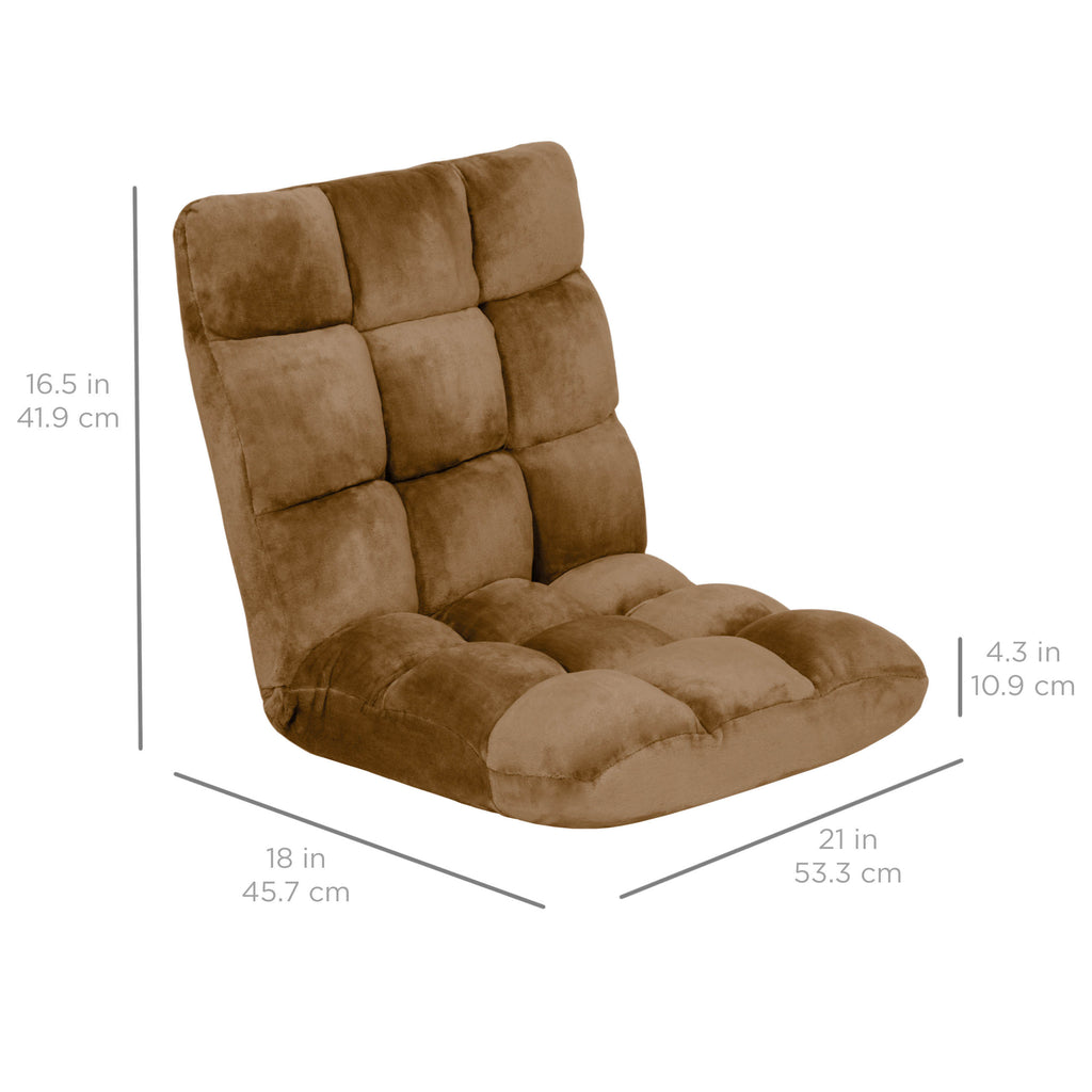 Adjustable Memory Foam Gaming Floor Chair - Brown