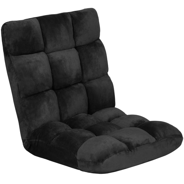 Adjustable Memory Foam Gaming Floor Chair - Black