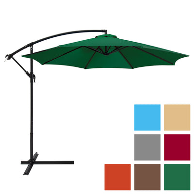 Best Choice Products 10' Patio Offset Umbrella Outdoor Market Umbrella- Green