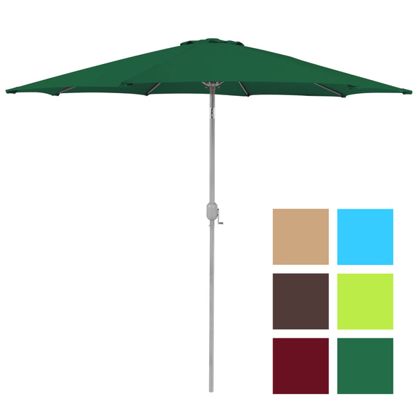 Best Choice Products 9' Aluminum Patio Market Umbrella Tilt W/ Crank Outdoor Green