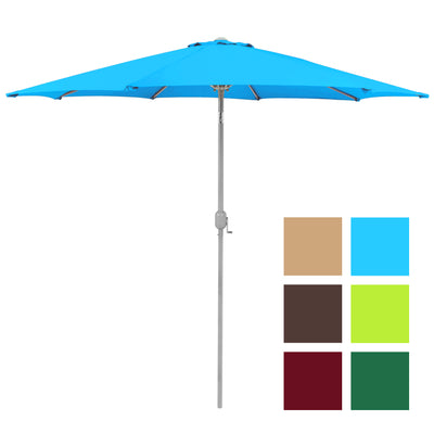Best Choice Products  9' Aluminum Patio Market Umbrella Tilt W/ Crank Outdoor Light Blue
