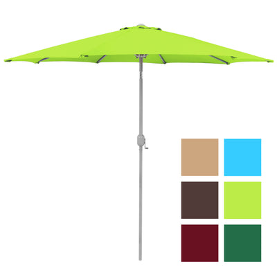 Best Choice Products 9' Aluminum Patio Market Umbrella Tilt W/ Crank Outdoor Light Green