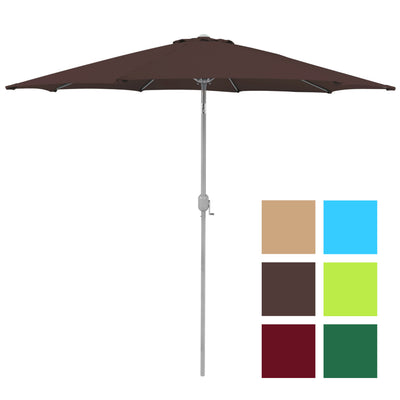 Best Choice Products 9' Aluminum Patio Market Umbrella Tilt W/ Crank Outdoor Brown