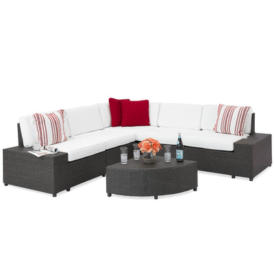 Best Choice Products Patio Furniture 6-Piece Wicker Sectional Sofa Set W/ Corner Coffee Table- Gray