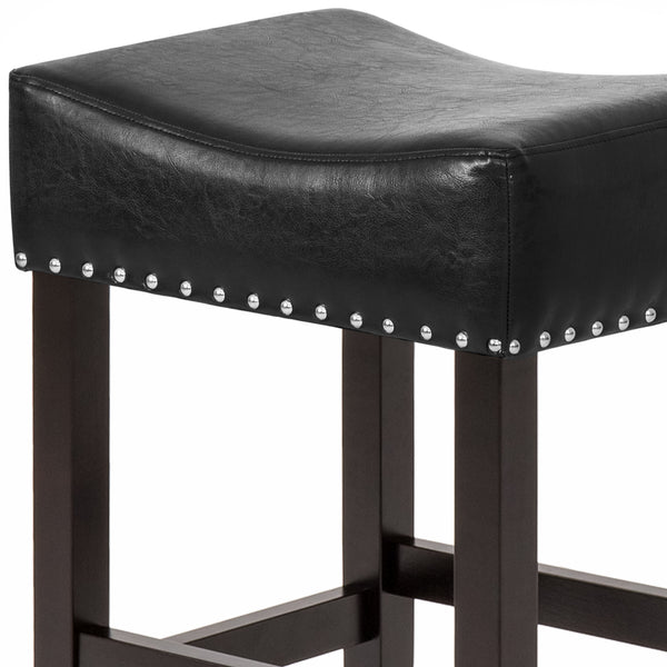 Set of 2 Backless Leather Counter Stool Seat Accents w/ Silver Studs