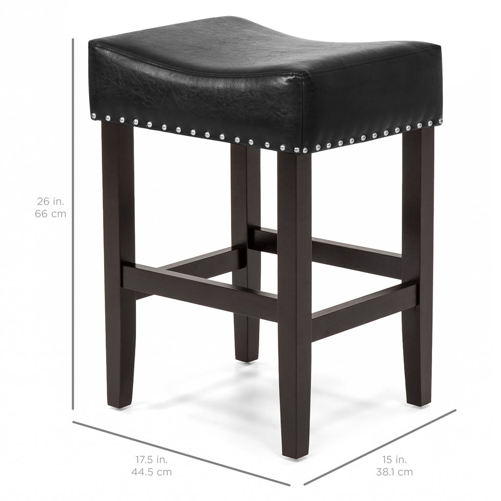 Set of 2 Backless Leather Counter Stools w/ Silver Studs